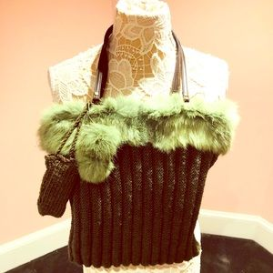 Handbags - ADORABLE knit fur bag